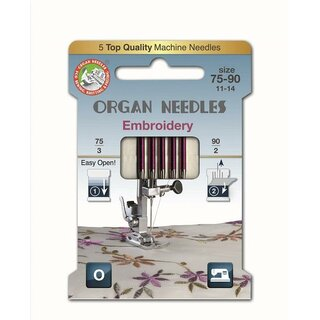 Organ Nähmaschinennadeln 130//705 H-E Embroidery 75//90 Blister